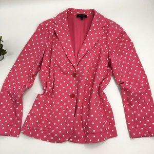 Talbots black label pink polka dot blazer